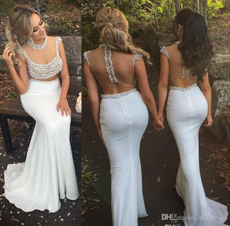 c8df2d42548 Sexy 2019 White Satin Sheer Bodice Two Piece Bridesmaid Dress Mermaid  Modest Pearl Beads Illusion Back Long Party Wedding Gowns Short Bridesmaids  Dresses ...