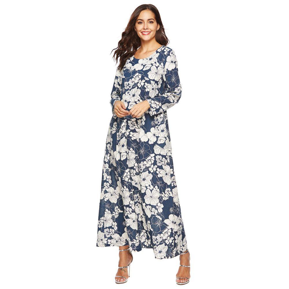 huge selection of 70e96 239e5 Frauen Langarm Kleider Vintage Gedruckt Lose Leinen Cocoon Lange Maxi Kleid  Sommerkleid Lässige Shift Kleider Sleeveless Boho Style