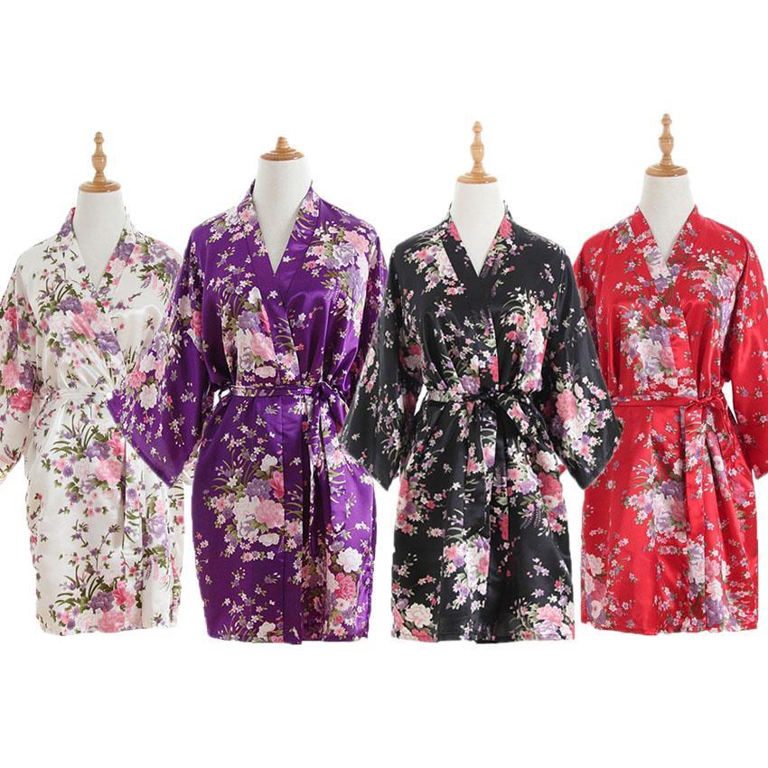 4eec0f6daa2ba Compre 2019 Año Nuevo Vestidos De Kimono Japoneses Para Mujer Floral Bata  De Baño Ropa De Dormir Sexy Pijamas Corto De Seda Yukata Vestido De Noche  Batas A ...