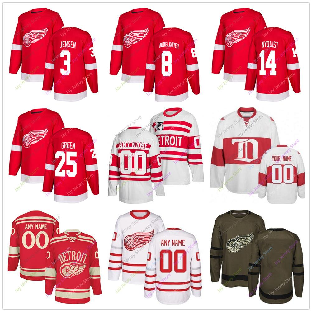 separation shoes ed62c 4a4c2 Nick Jensen Justin Abdelkader Gustav Nyquist Mike Green Jersey 2019 Men  Women Youth Kid Winter Classic Detroit Red Wings Salute to Service