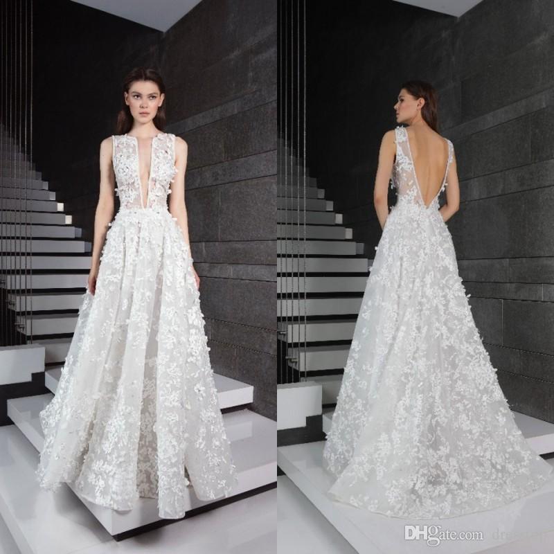 546c5eb180 Discount 2019 Tony Ward Lace Wedding Dresses V Neck 3D Appliqued Bridal  Gowns Backless Boho Wedding Dress Cheap Wedding Collection For Bride Wedding  Dress ...