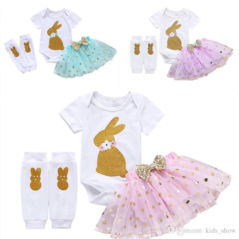 Baby Girl Easter Outfit Rabbit Print Romper Short Sleeve +Dot Tulle Tutu Skirt+Tight Pants 3 Pieces Sets Toddler Cotton Clothing