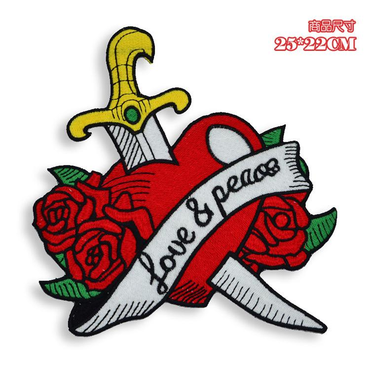 embroidery love patches,peace badges,red heart appliques for jeans,heart rose patches for clothing,GJ0446