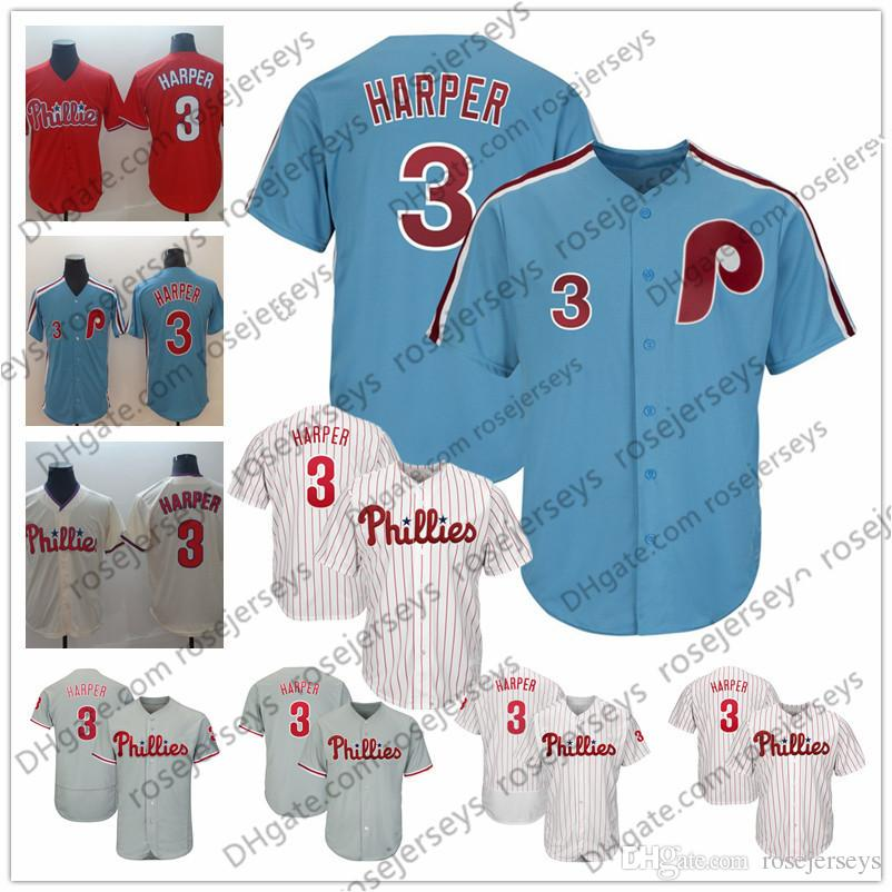 newest collection d46b9 b8b57 2019 Bryce Harper Phillies Jersey Philadelphia #3 Men Women Kid Youth Light  Blue vintage White Red Cream Gray Grey New Arrival Hot Sale
