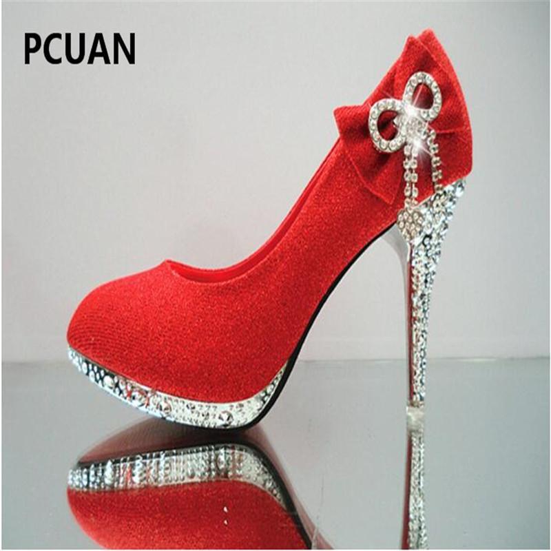 12f1dd65cc Compre Vestido Zapatos De Boda Arco De Mujer Tacones Altos Piedras Delgadas  Boca Baja Zapatos Individuales Elegante Moda Cristalino Novia Dama De Honor  ...