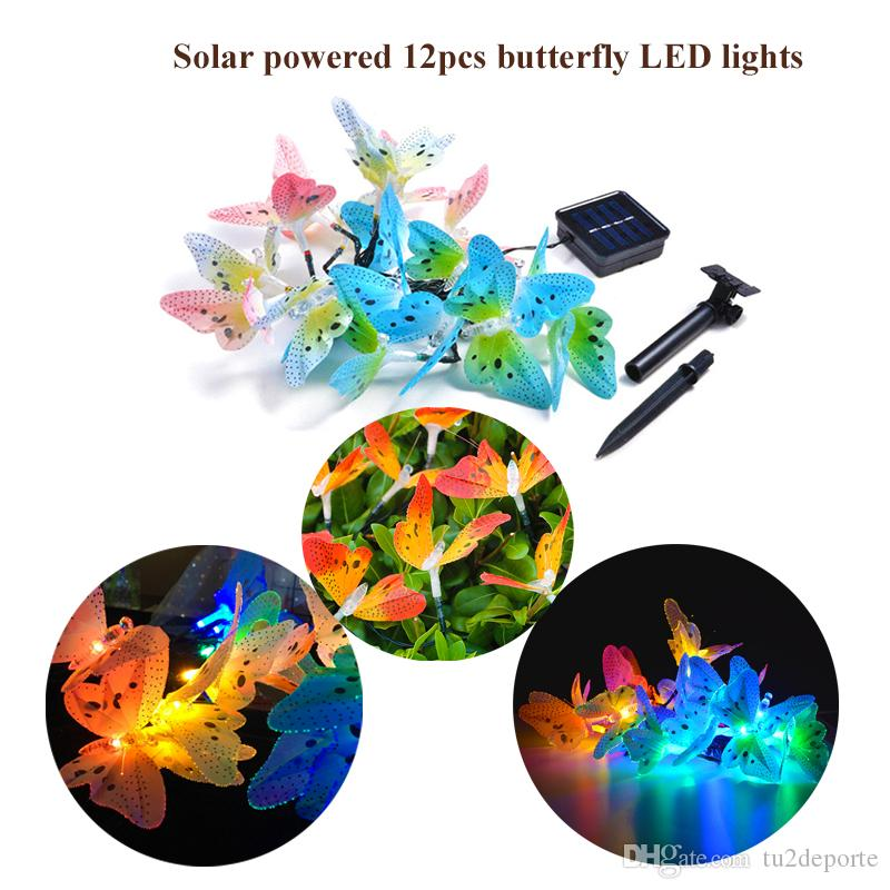 Solar Powered LED String Lights 12 Bulbs Waterproof Butterfly Christmas String Camping Outdoor Lighting Garden Holiday Party 2 Modes 3.8m