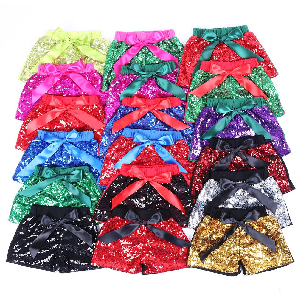 Girls Sequins Shorts Kids Glitter Bling Pants Dance Shorts Fashion Pants Boutique Bow Princess Party Summer Knot Shorts KKA7139