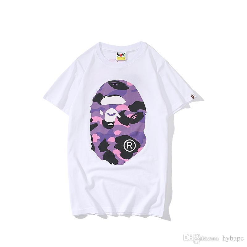 Verão Novos Homens Mulheres Casual Roxo Dos Desenhos Animados Imprimir Preto Branco T Shirt Amante Do Ocasional Em Torno Do Pescoço Esporte Solto