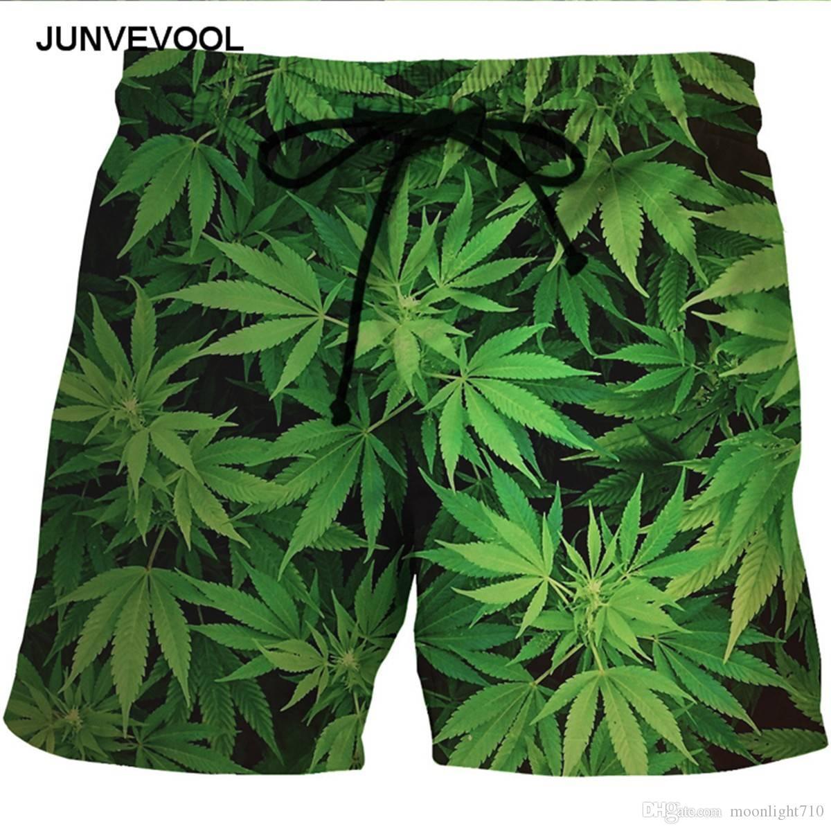 Compre Pantalones Cortos De Verano Para Hombres Playa Del Mar Hojas Verdes  Cortas Trajes De Baño 3D Pantalones Cortos Para Hombres Secado Rápido Con  Red ... 081839de80d9