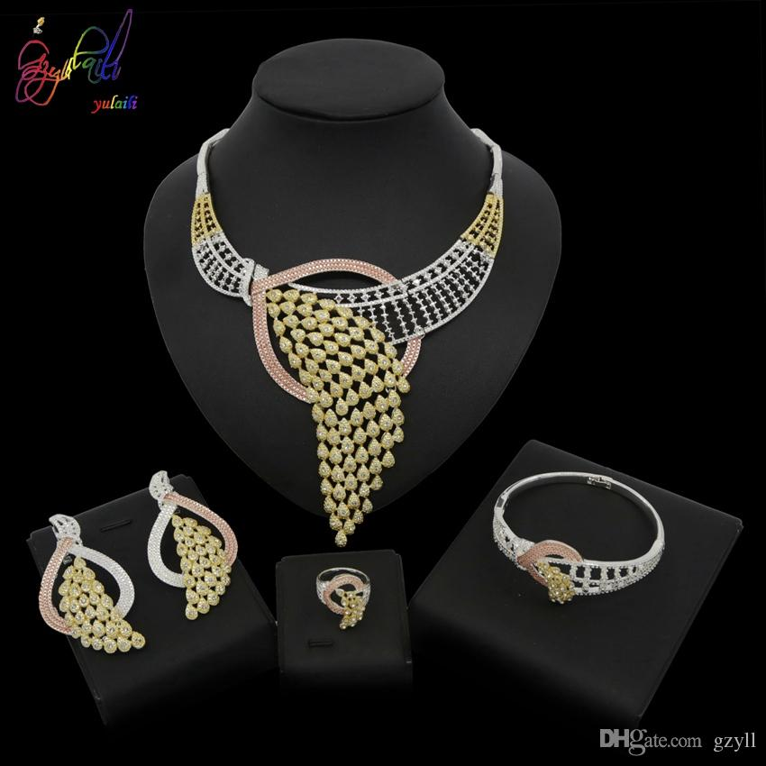 Yulaili 2019 New African Jewellery Sets Design Uses Three Colors Of Gold, White And Rose Gold A Unique Necklace Bracelet Earrings Ring