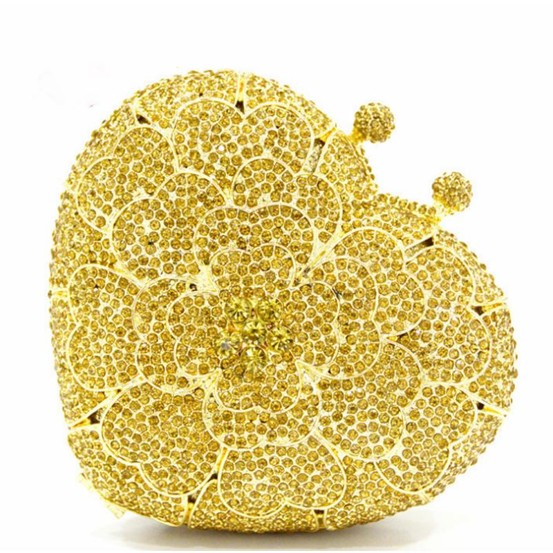 Yellow Heart Shape Full Diamonds Clutch XIYUAN Women Evening Bags  FlowerCrystal Rhinestones Clutches Ladies Party Purse