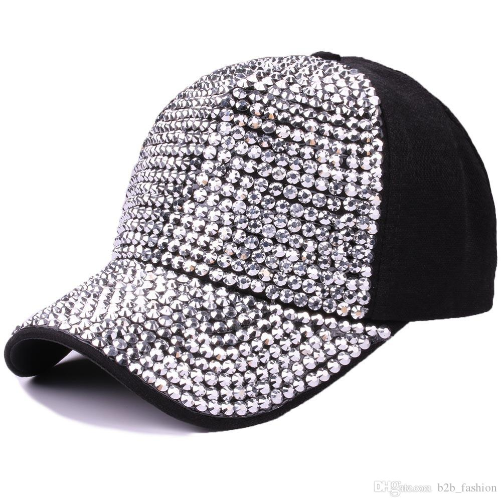 69ab0e0f07e31 Rhinestone Baseball Hat Outdoor Sunshade Cap Soft Cotton Hats Casual Hip  Hop Caps Fashion Adjustable Bling LJJL22 Hat Stores Custom Trucker Hats  From ...