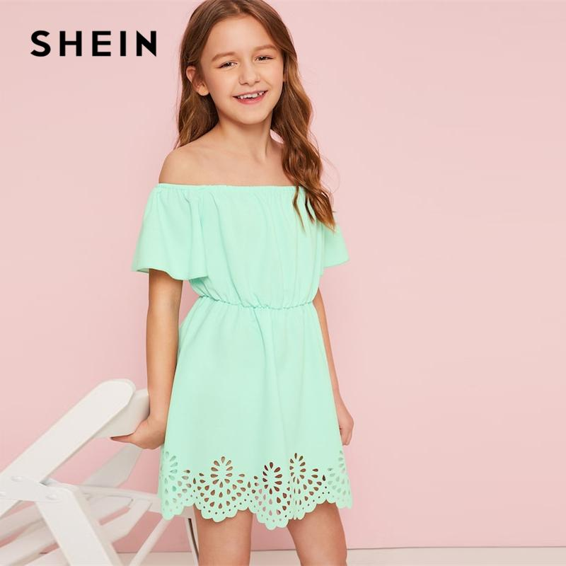 832f0616a2 2019 SHEIN Kiddie Green Solid Off The Shoulder Cut Out Boho Dress ...