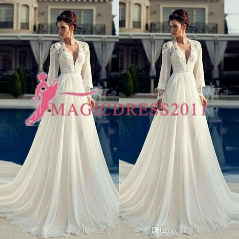 V-neck Chiffon Pageant Dress for Women Sweep Train Wedding Dresses 2019 country lace fairy Corset Ivory Long sleeves Bridal Gowns Plus Sizes