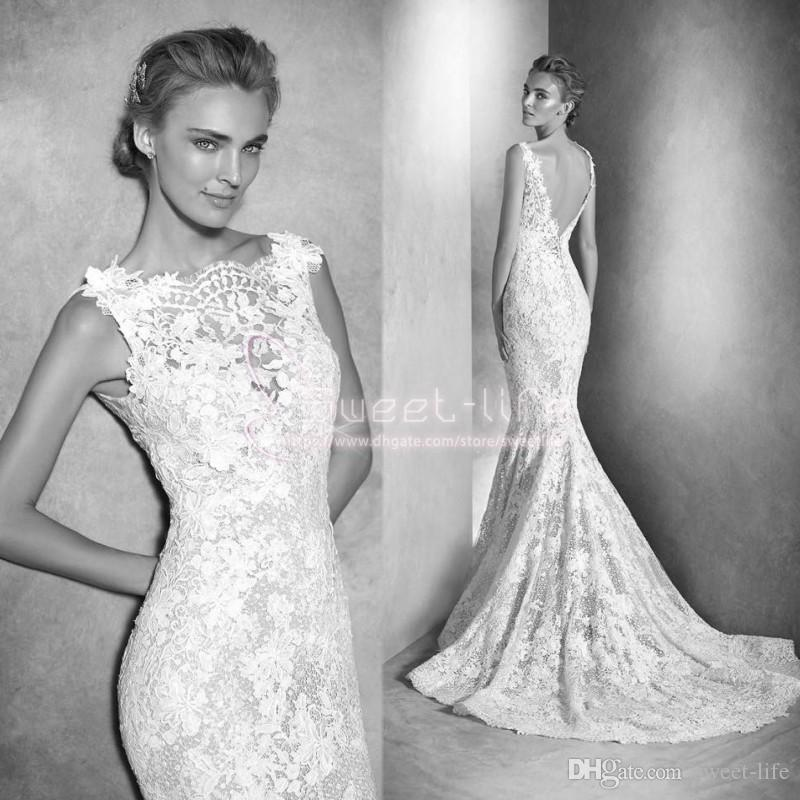 ca42ca2cbb2 Long 2019 Lace Wedding Dresses Mermaid Sheer Bateau Neck Backless Long  Sleeves Sexy Romantic Country Summer Bohemia Bridal Gowns Bride Wedding  Dress Cheap ...