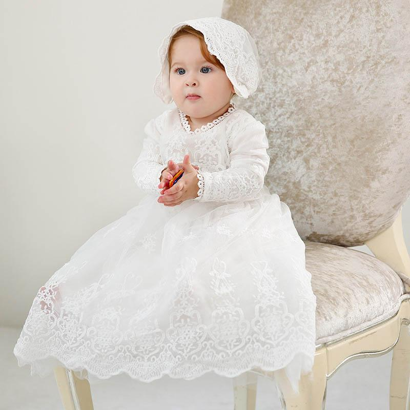 New lace baby girl baptism gown christening dress princess long baby girl dresses hats 2pcs newborn baby girl designer clothes A4866