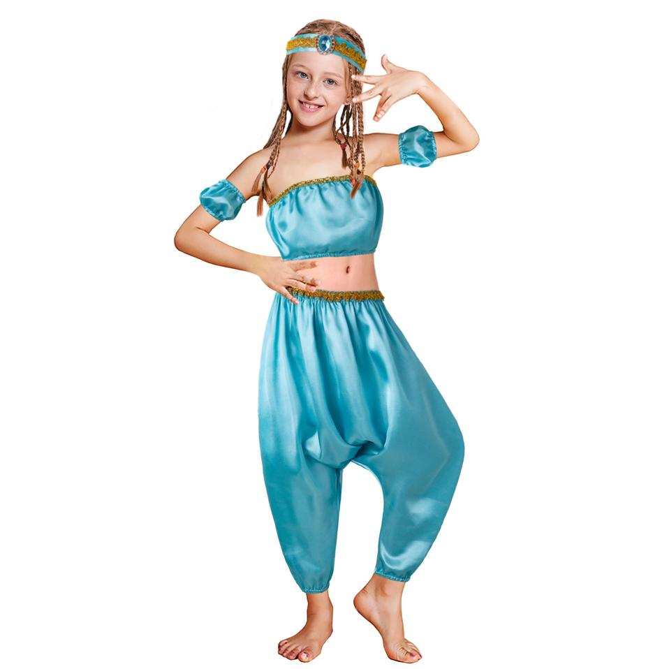 Pettigirl Girls Jasmine Princess Sets Haren Tops Pants+ Hair Strap Prom Dance Boutique Kids Girl Clothes G-DMCS204-G003