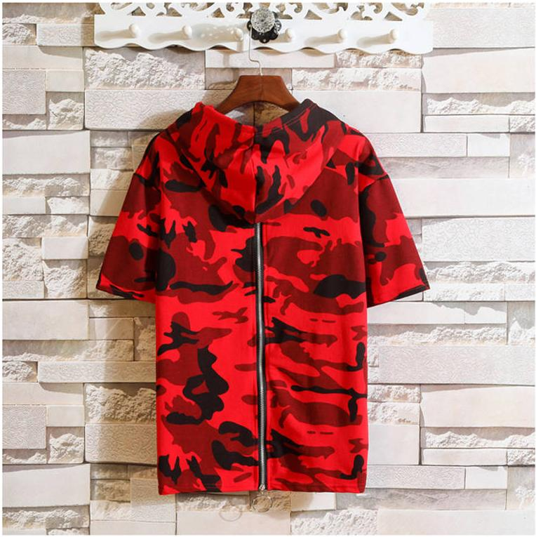 2020 Mens Designer T Shirts Hooded Camouflage Pattern Short Sleeves Tops Brand Fashion Style Loose Tees Cotton T Shirts Young Men
