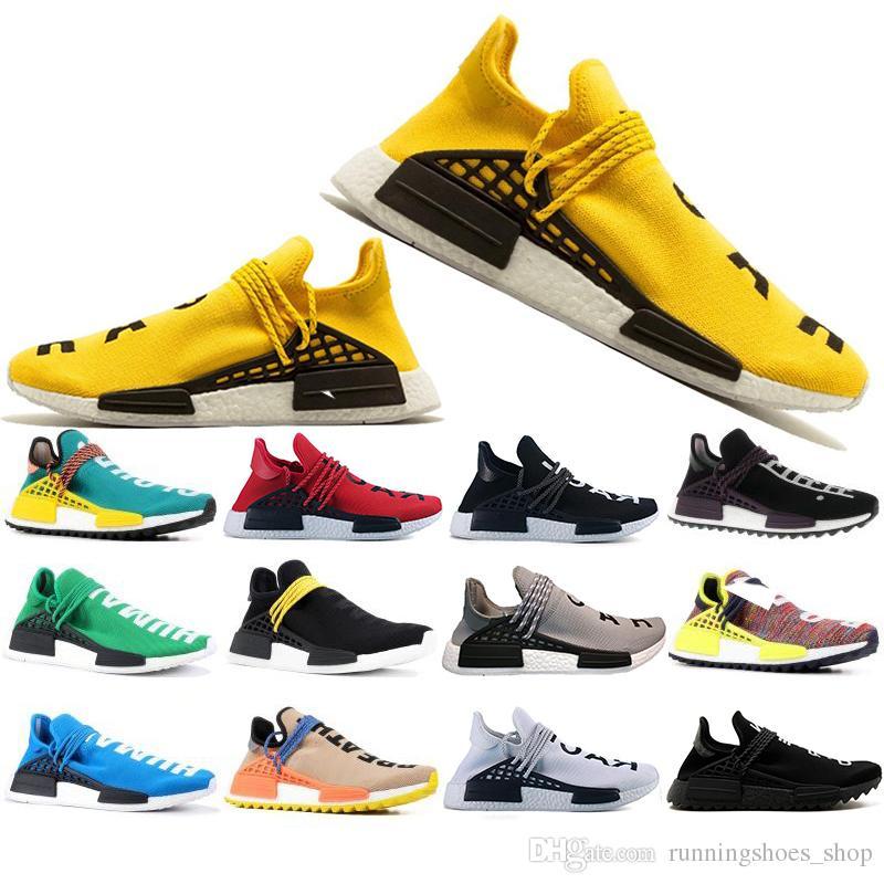 sale retailer 4a506 aac40 Free Shipping Human Race Hu trail pharrell williams Running shoes For Men  Women Nerd black cream mens trainer designer sports sneakers 36-47