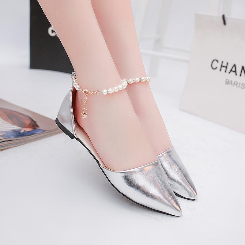 Lucky2019 With Shoes Woman Flat Bottom Asakuchi A String Of Beads Work Sharp Low Coarse With Shallow Mouth Single Shoe