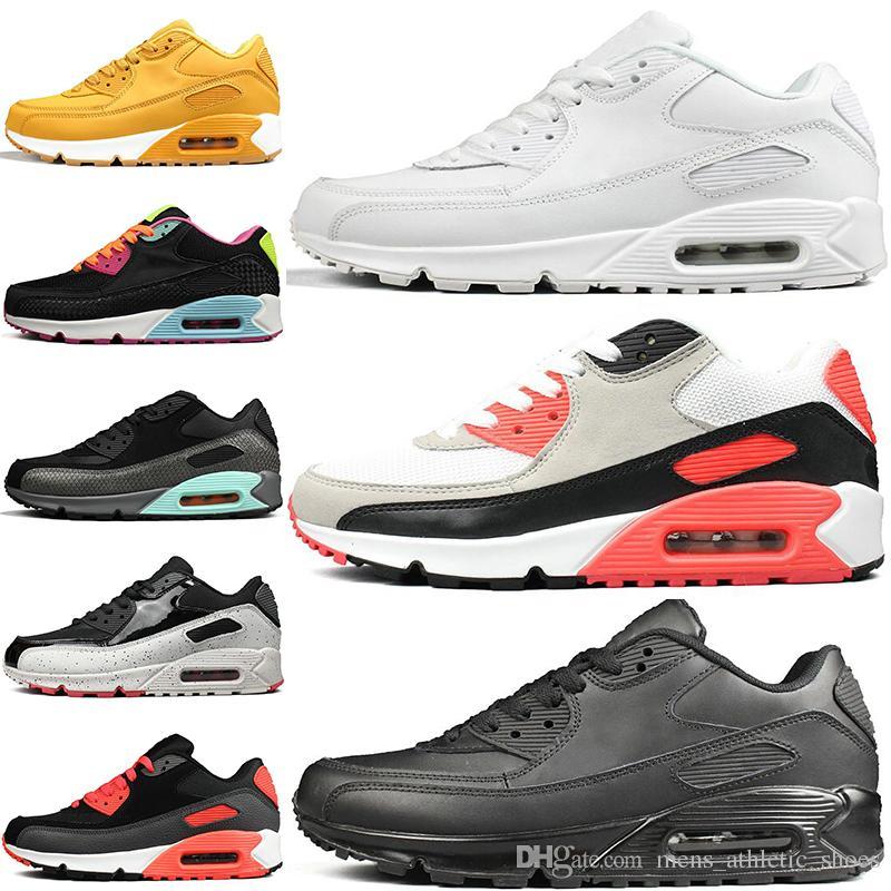 nouveau style 3446e 0ae45 nike air max 90 90s airmax VM Chaussures Noir Argent Gris Bleu Encre à jet  d encre mens formateurs Rose jaune OG luxe femmes chaussures Gym designer  ...