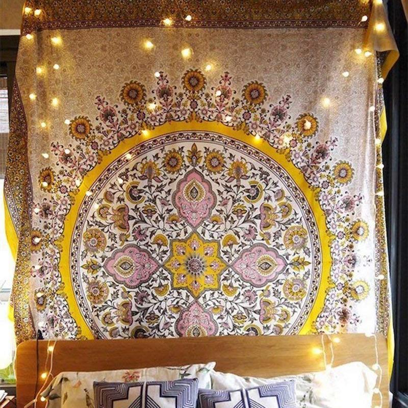 Floral Medallion Tapestry Gold Indian Headboard Wall Hanging Home Decor Mandala Tapestry Celestial macrame wall hanging Decor SH190925