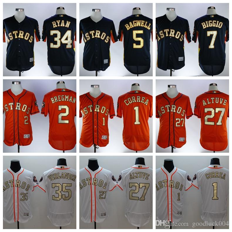 timeless design c3256 4452b 2018 Gold Program 27 Jose Altuve 35 Justin Verlander Houston Jersey Astros  4 George Springer 1 Carlos Correa Cool Base Jerseys