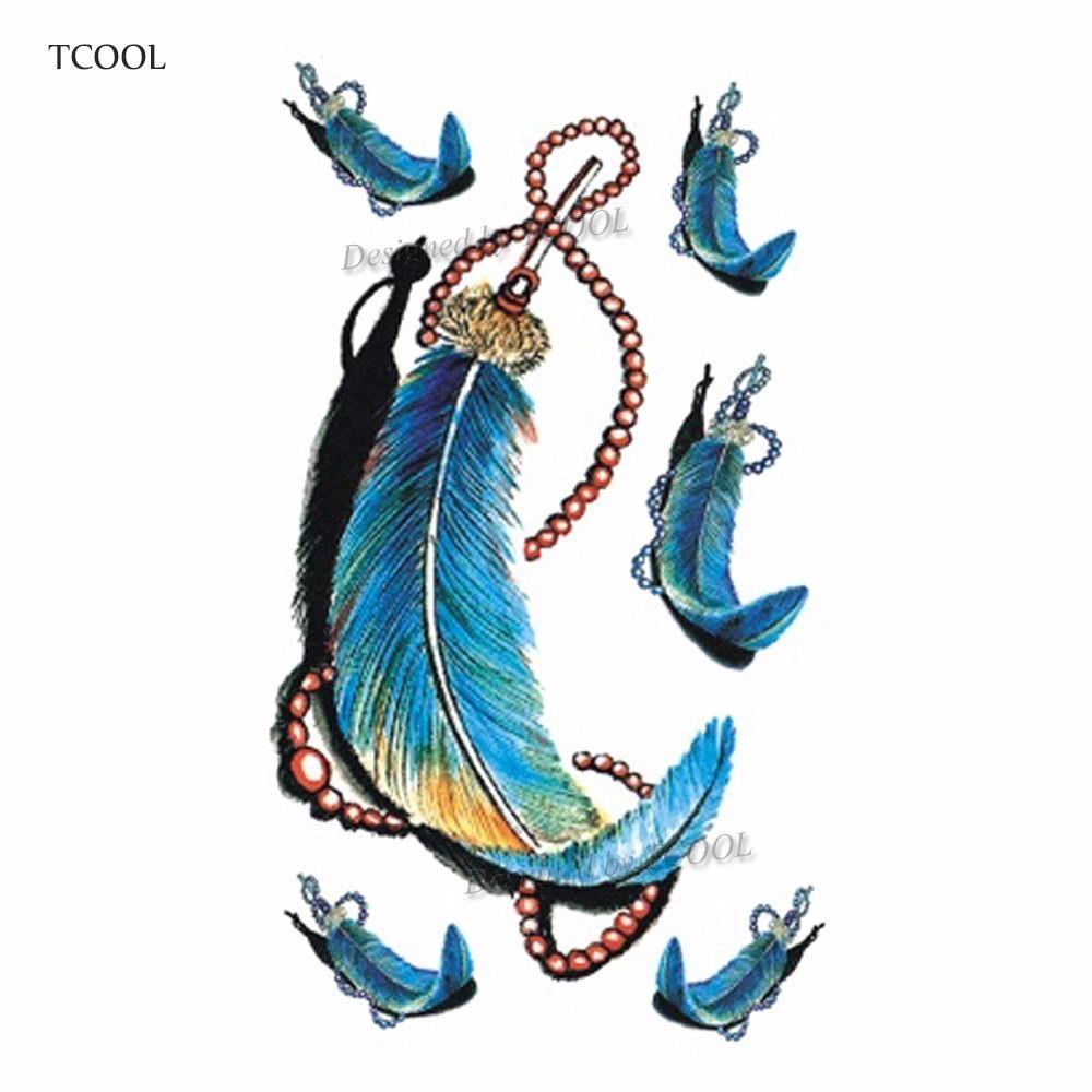TCOOL Feather Temporary Tattoos Waterproof Women Tattoo Sticker Fashion Fake Body Art Men 10.5X6cm Kids Adult Hand Tatoo B-012