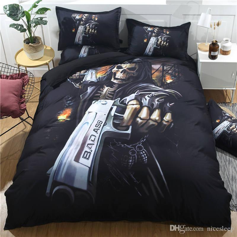3D Skull Gunman printing bedding sets Halloween Duvet Cover Twin Full Queen Size with pillowcase 2/3 pcs