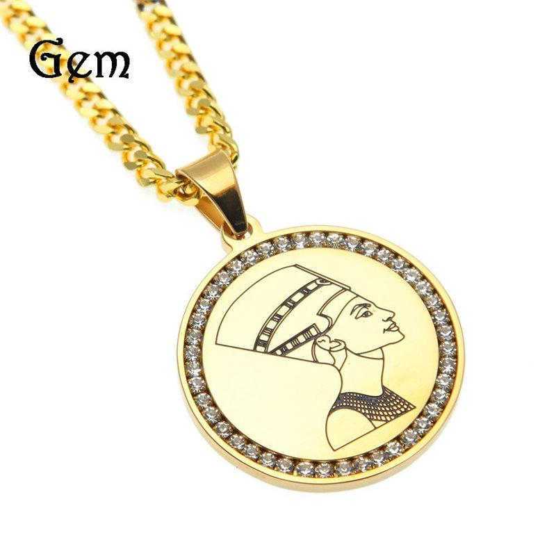Fashion Unisex African Necklaces Hot Luxury Men Women Hip Hop Necklace Gold Egyptian Egypt Queen Nefertiti Pendant Necklaces Lover Gift