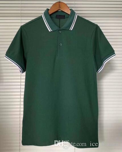 New England uomini London Polo manica corta Casual Male cotone T-shirt solido 100% delle parti superiori Mens Polo Slim Fit T-Verde