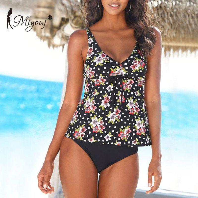 0f4c08f577 Acheter Miyouj Polka Dot Maillot De Bain Push Up Floral Maillots De Bain  Femme Tankini Maillot De Bain Femmes Bodys Plus La Taille Bikini Costumes À  Deux ...