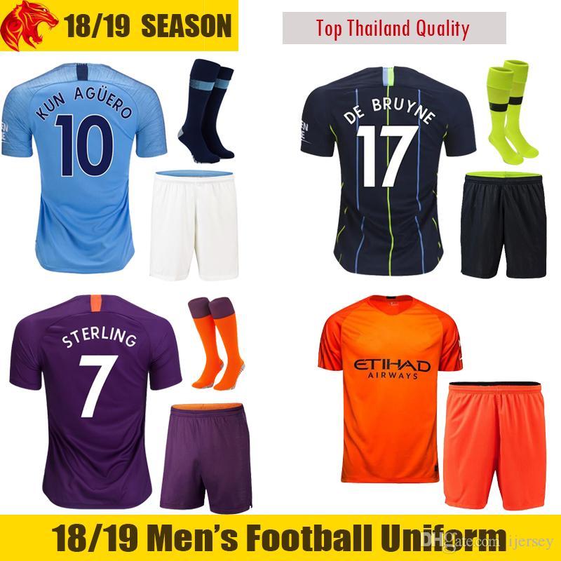 51a737644 2019 18 19 KUN AGUERO Soccer Sets Adult Man Soccer Jerseys SANE City  STERLING Football Uniforms DE BRUYNE Football Kit G.JESUS SILVA Shirt From  Ijersey
