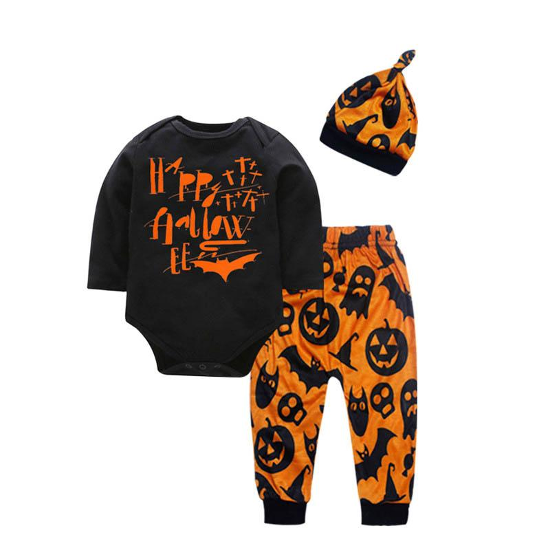 Cute 2019 new Halloween baby clothes baby suits newborn outfits long sleeve romper+pants+hats 3pcs/set baby boy clothes girls clothes A7889