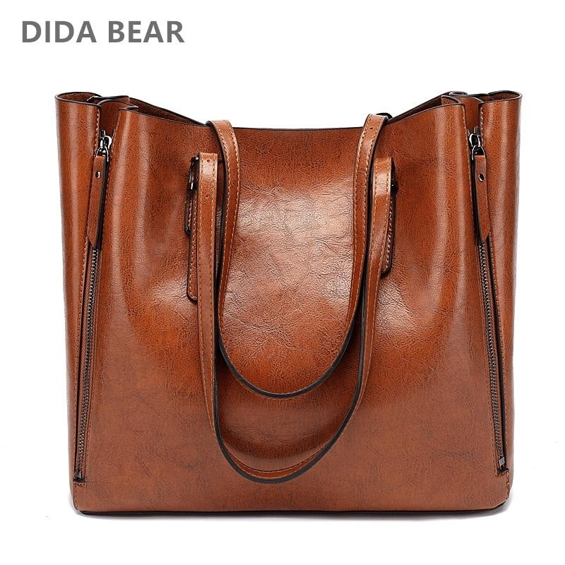 DIDA BEAR New Fashion Luxury Handbag Women Large Tote Bag Female Bucket Shoulder Bags Lady Leather Messenger Bag Shopping BagMX190930