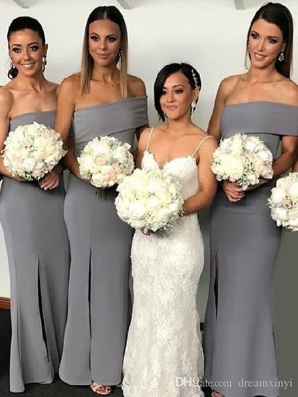 One Shoulder Long Mermaid Bridesmaid Dresses 2019 New Sleeveless Split Side Floor Length Formal Wedding Party Dresses Wedding Gowns
