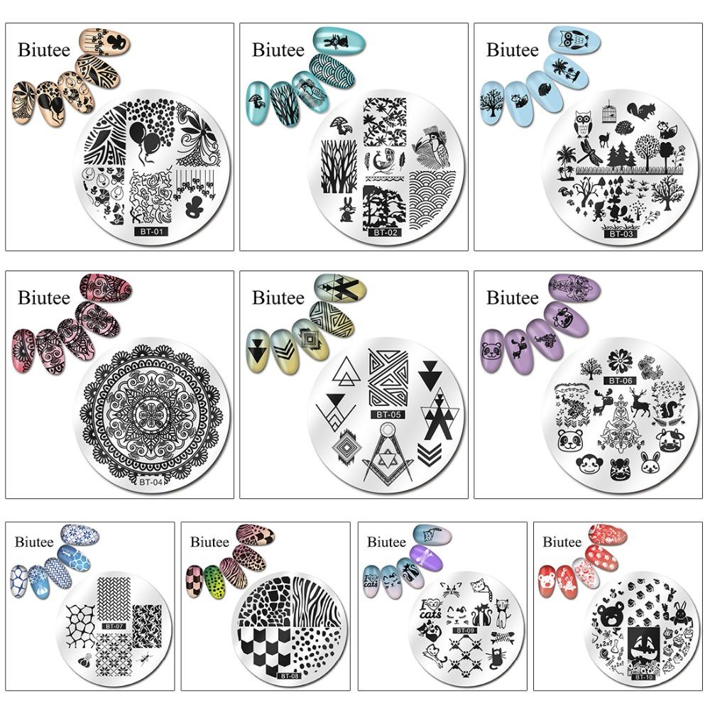 negative space 1pc 56 Designs Available Biutee Stamping Plate Lace Starfish & Shell Negative Space Leaves Flowers Animals Nail Template