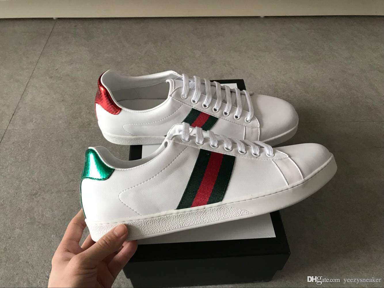 2019 New Arrival Fashion Men Women Casual Shoes Top Quality Genuine Leather Bee Embroidered Gucci Sneakers Shoes With Box