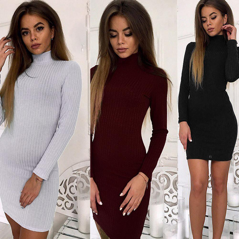 b00c8fbcf54db Women Knit Sweater Dress Mini Ribbed Turtleneck Dress Long Sleeve Solid  Bodycon Casual Party Pullover Pencil Dress Vestidos 2019 Summer Dresses  Maxi Women ...