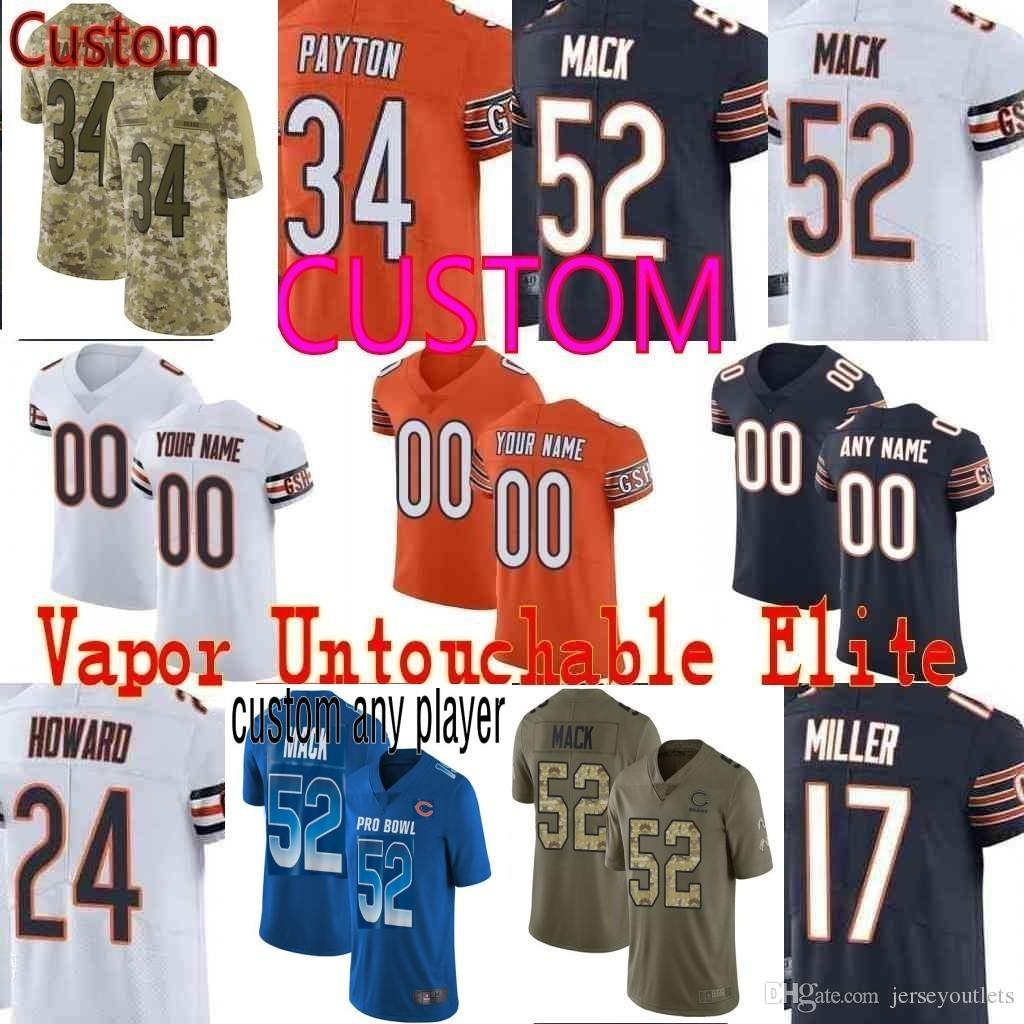 2019 Custom Men S Youth Women Chicago 52 Khalil Mack 10 Mitchell Trubisky  34 Walter Payton Camo Salute To Service Bears Elite Limited Jersey 01 From  ... f8620696d