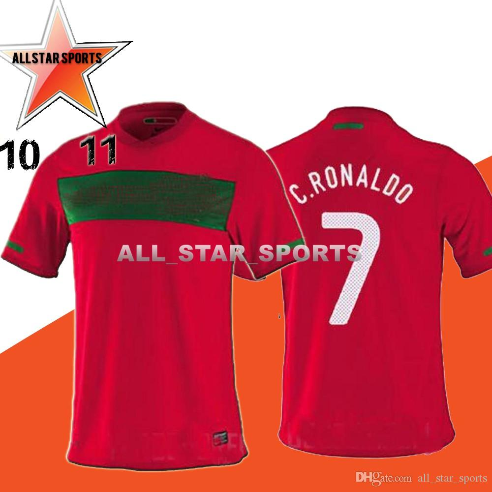 new style 906bd 32fe5 10 11 PortugAL Soccer Jerseys RONALDO NANI PEPE 2010 2011 South Africa  World Cp Football shirtS Retro wholeslae 10pcs dhl