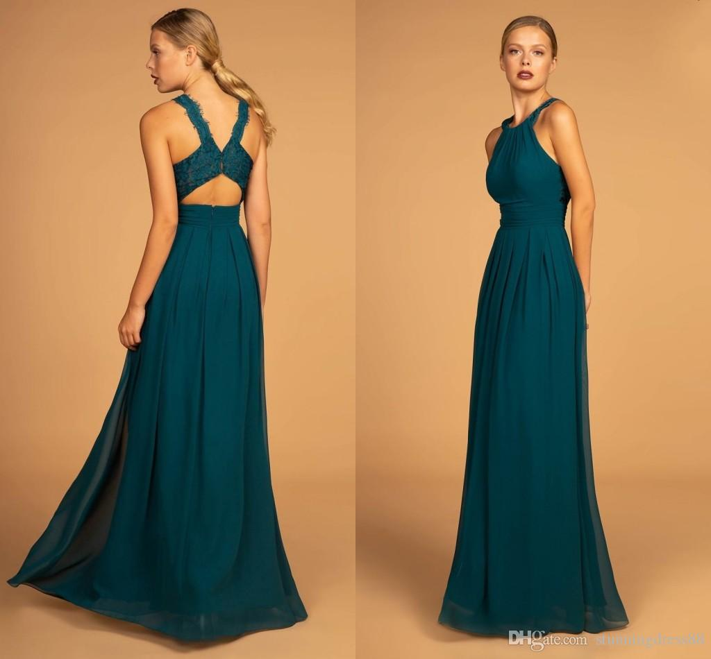 2fc7fe1d27f Sexy Teal Designer Lace Long Bridesmaid Dresses Cheap Halter Keyhole Back  Empire Chiffon Country Wedding Formal Party Dress Bridesmaids Australia  2019 From ...