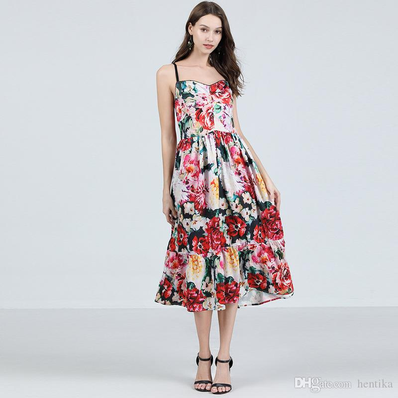 b1bdab35ebbdd0 Printed Floral Beach Summer Polyester Dresses Mid Calf Top Quality ...