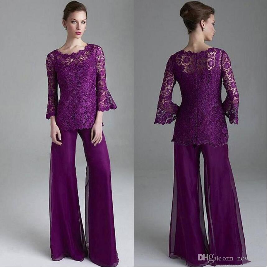 Classy Purple Lace Mother Of The Bride Pant Suits Jewel Neck Long ...
