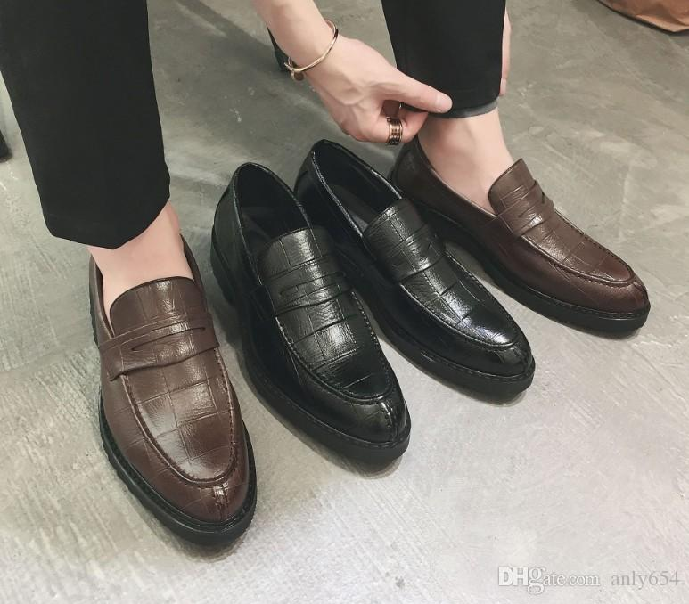 Leather men leisure dress shoe part gift doug shoes Metal Buckle Slip-on man lazy falts Loafers Zapatos Hombre