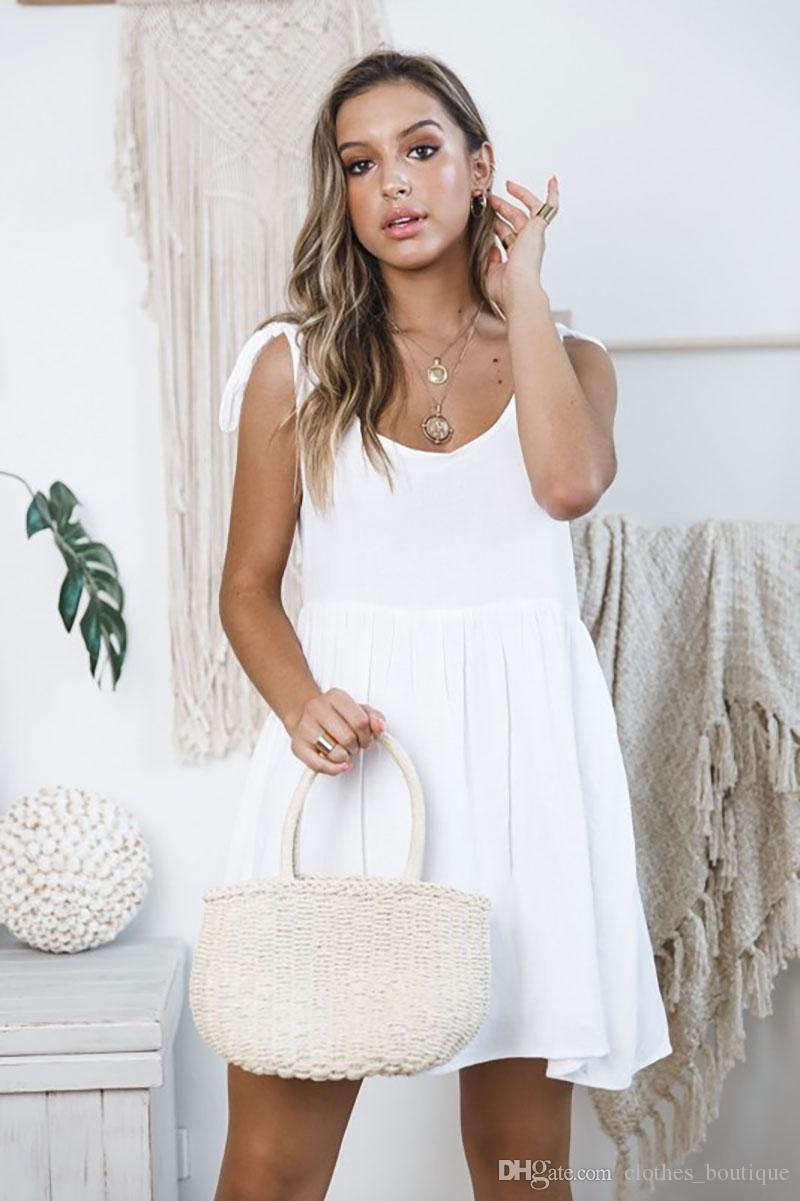 2019 Women's Summer Sleeveless Casual Crew Neck Ruched Stretchy Pleated Loose Plain Dresses Casual Short Mini Dress
