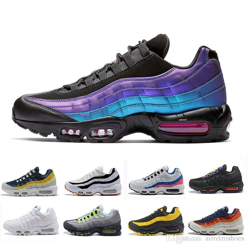 Nike air max 95 shoes 2019 cheap Laser Fuchsia chaussures OG Mens Womens Running Shoes Classic Black Red White men Trainer Surface Sports outdoor