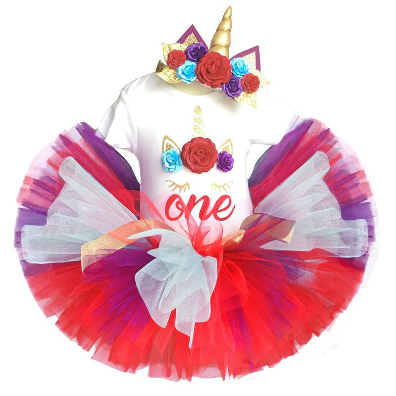 baby unicorn 1st birthday dress party 1 year girl clothing sets kids clothes romper+headband+tutu fluffy skirt vestido unicornio Y190515