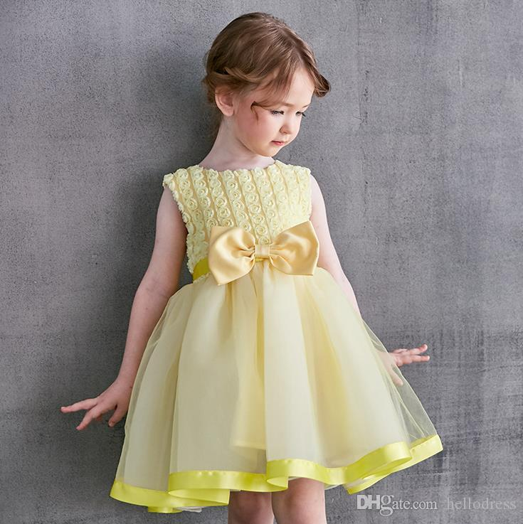 9a297e2ed853c Yellow Flowers Kids Desses Sleeveless Jewel Neck Knee Length With Bow A  Line Tulle Net Formal Girls Dresses For Prom Party Holiday Flower Girl Gown  ...