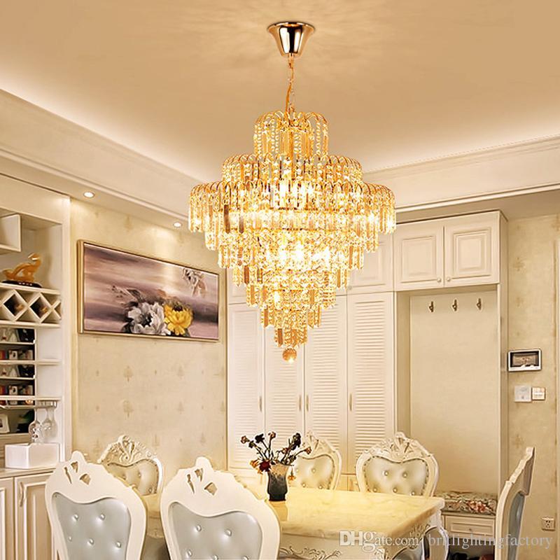 European Luxury Gold Crystal Chandelier Lighting Bedroom Led Round ...